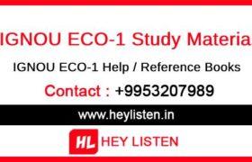 IGNOU ECO-1 Study Material