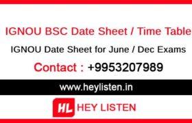 IGNOU BSC Date sheet
