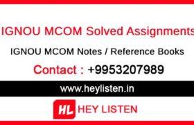 IGNOU MCOM Assignments