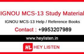 IGNOU MCS-13 Study Material