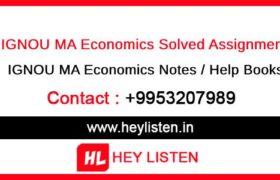 Ignou MA Economics Assignment