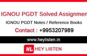 IGNOU PGDT Assignments
